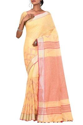 Light Yellow Woven Pure Bhagalpuri Linen Saree With Blouse