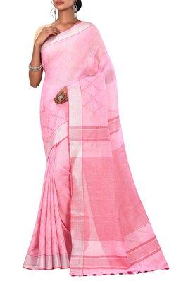 Light Pink Woven Pure Bhagalpuri Linen Saree With Blouse