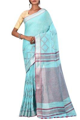 Light Blue Woven Pure Bhagalpuri Linen Saree With Blouse