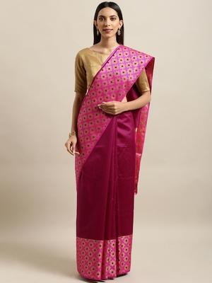 Burgundy woven silk blend saree with blouse