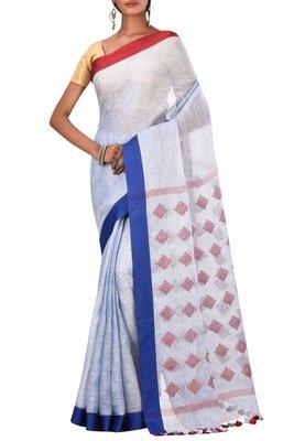 Sky Blue Woven Pure Bhagalpuri Linen Saree With Blouse