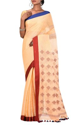 Light Orange Woven Pure Bhagalpuri Linen Saree With Blouse