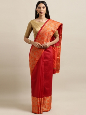Maroon woven silk blend saree with blouse