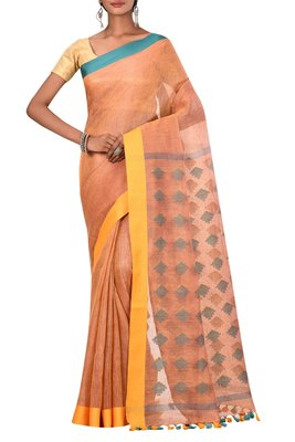 Orange Woven Pure Bhagalpuri Linen Saree With Blouse