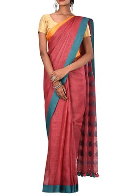 Light Red Woven Pure Bhagalpuri Linen Saree With Blouse