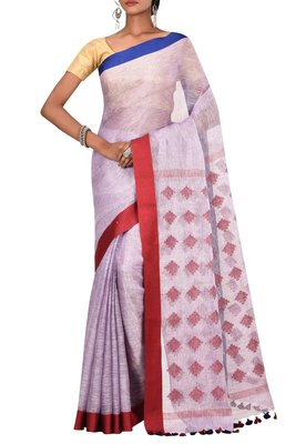 purple Woven Pure Bhagalpuri Linen Saree With Blouse