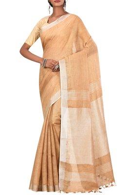 Beige Woven Pure Bhagalpuri Linen Saree With Blouse