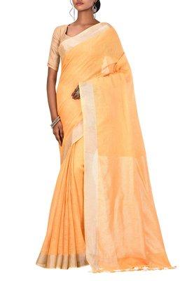 Light Orange Woven Pure Bhagalpuri Linen Saree With Blouse