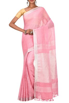 Pink Woven Pure Bhagalpuri Linen Saree With Blouse