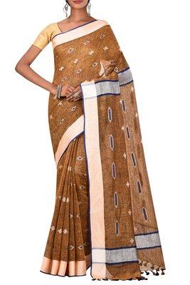 Dark Beige Woven Pure Bhagalpuri Linen Saree With Blouse