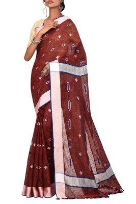 Maroon Woven Pure Bhagalpuri Linen Saree With Blouse