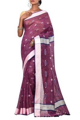Magenta Woven Pure Bhagalpuri Linen Saree With Blouse