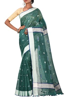 Dark Green Woven Pure Bhagalpuri Linen Saree With Blouse