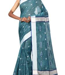 Blue Bengal Handloom Pure Cotton Saree Without Blouse