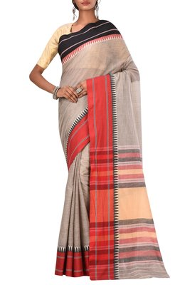 Light Grey Bengal Handloom Pure Cotton Saree Without Blouse