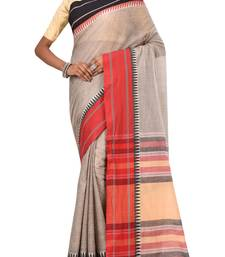 Light Grey Bengal Handloom Pure Cotton Saree Without Blouse