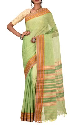 Light Green Bengal Handloom Pure Cotton Saree Without Blouse