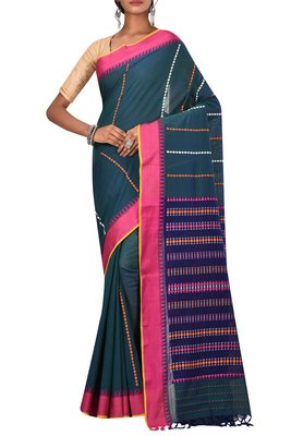 Teal Bengal Handloom Pure Cotton Saree With Blouse