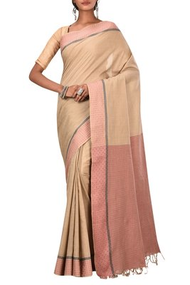 Beige Bengal Handloom Pure Cotton Saree Without Blouse