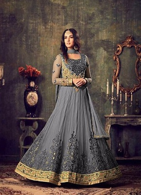 Sonal Chauhan Net Anarkali Suit In Grey Colour