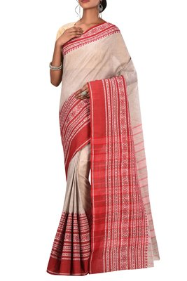 Light Grey Pure Bhagalpuri Linen Saree With Blouse
