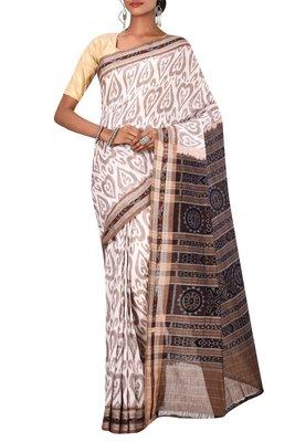 Off White Odisha Handloom Ikat Pure Cotton Saree Without Blouse