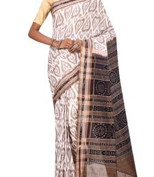 Off White Odisha Handloom Ikat Pure Cotton Saree Without Blouse