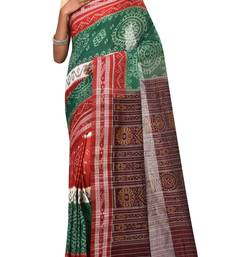 Green Odisha Handloom Ikat Pure Cotton Saree Without Blouse