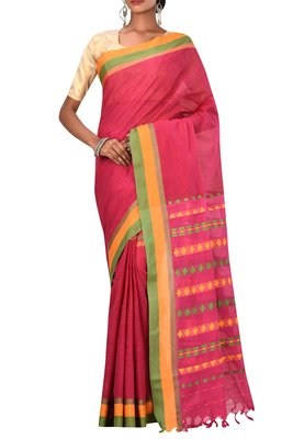 Dark Pink Bengal Handloom Pure Cotton Saree With Blouse