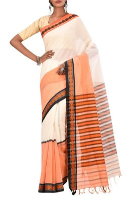 Off White Bengal Handloom Pure Cotton Saree Without Blouse