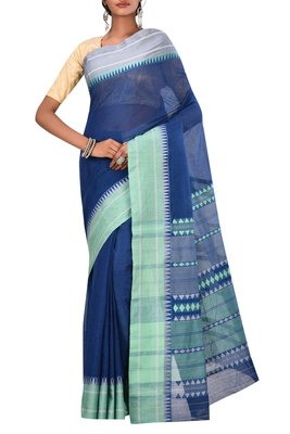 Royal Blue Bengal Handloom Pure Cotton Saree Without Blouse