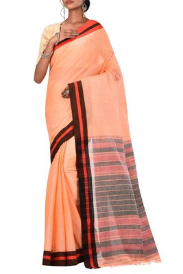 Peach Bengal Handloom Pure Cotton Saree Without Blouse