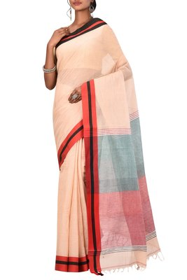 Light Peach Bengal Handloom Pure Cotton Saree Without Blouse