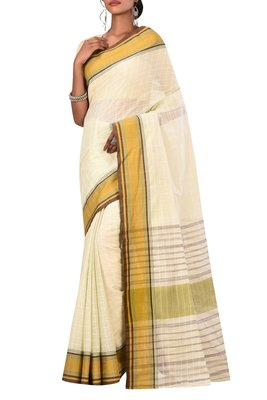 Cream Bengal Handloom Pure Cotton Saree Without Blouse