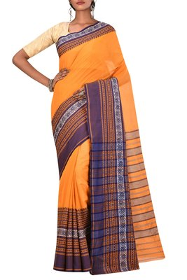 Orange Bengal Handloom Pure Cotton Saree Without Blouse