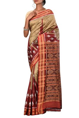 Beige Odisha Handloom Ikat Pure Silk Saree Without Blouse