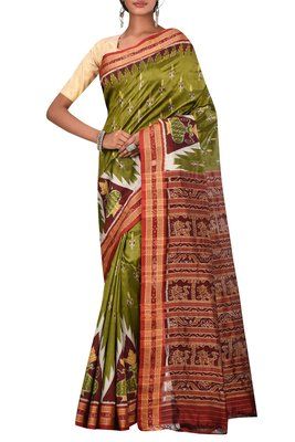 Olive Odisha Handloom Ikat Pure Silk Saree Without Blouse