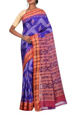 Indigo Odisha Handloom Ikat Pure Silk Saree Without Blouse