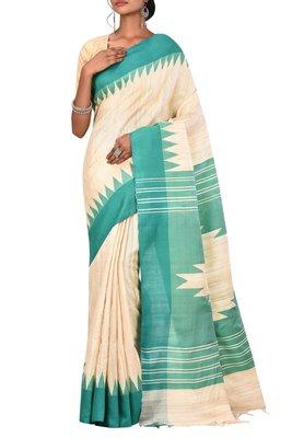 Cream Chhattisgarh Handloom Pure Tussar and Ghicha Silk Saree With Blouse