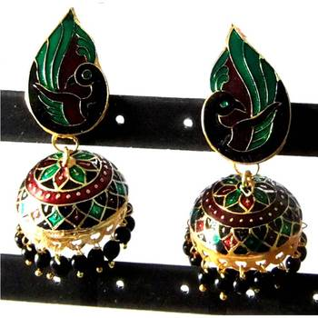 Green & Black Peacock Jhumki