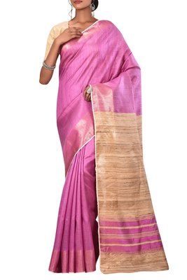 Pink Bhagalpuri Handloom Pure Tussar and Dupion Silk Saree With Blouse