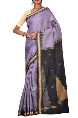 Light Purple Odisha Handloom Ikat Pure Tussar Silk Saree With Blouse