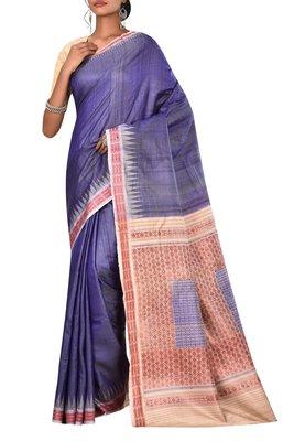 Indigo Odisha Handloom Ikat Pure Tussar Silk Saree With Blouse