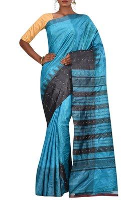 Blue Chhattisgarh Handloom Pure Tussar Silk Saree With Blouse