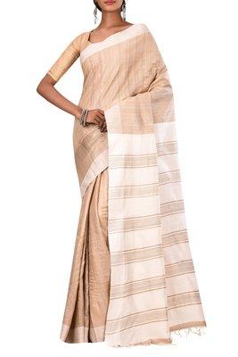 Beige Bhagalpuri Handloom Pure Tussar Silk Saree With Blouse