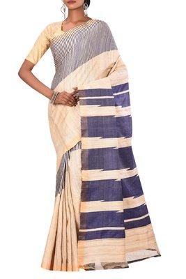 Beige Chhattisgarh Handloom Pure Tussar and Ghicha Silk Saree With Blouse