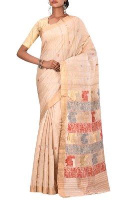 Beige Chhattisgarh Handloom Pure Tussar Silk Saree With Blouse