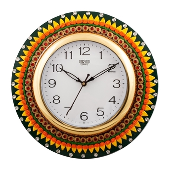 Subtle Vibrant Papier-Mache Wooden Handcrafted Wall Clock