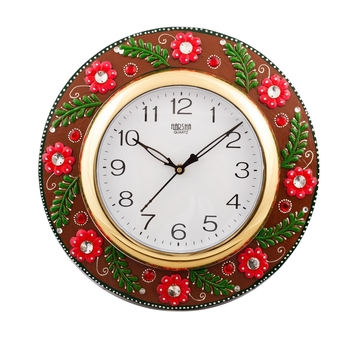 Jazzy Red Floral Papier-Mache Wooden Handcrafted Wall Clock