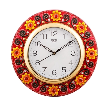 Fine Crafted Florid Papier-Mache Wooden Handcrafted Wall Clock